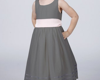 Slate Grey Flower Girl Dress by Matchimony with Complimentary Sash available in all Matchimony colours