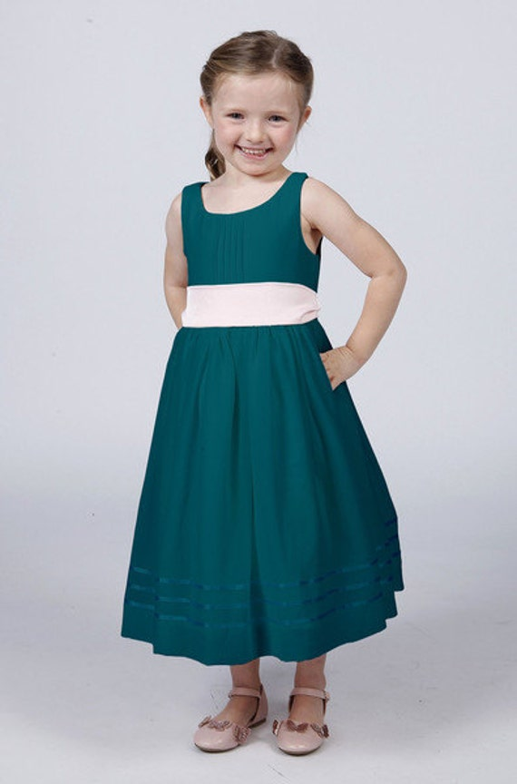 teal flower girl dress with complimentary coloured sash by. Black Bedroom Furniture Sets. Home Design Ideas