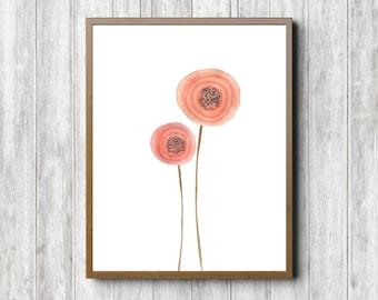 Instant Download - Watercolor Ranunculus Flower Art Print - Office Wall Art - Persian Buttercup /Crowfoot Flower - Nursery /Girls Room Art