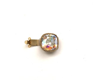 Vintage Marvella Double Strand Clasp with Aurora Borealis Rounded Square Focal