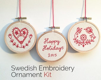 Embroidery Kit • Traditional Swedish Folk Art Embroidery Ornament Kit • Fair Trade