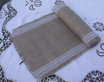 2.5m Hessian Table Runner with Vintage Style Ivory white Lace