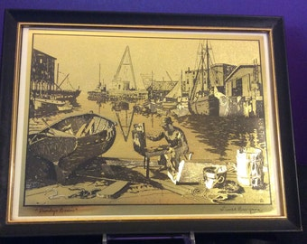 """Lionel Barrymore Gold Foil Etching """"Purdy's Basin"""""""