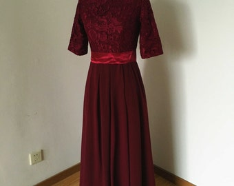Half Sleeves High Neck Burgundy Lace Chiffon Long Bridesmaid Dress, Mother of the Bride Dress