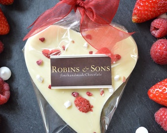 Robins and Sons VERY BERRY HEART Belgian white Chocolate Birthday, Mother's Day, Wedding favour