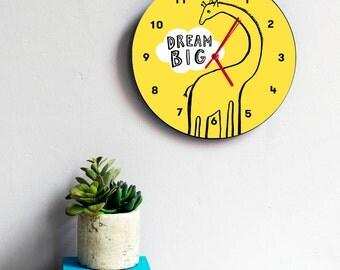 Giraffe - dream big- childrens clock - wall clock - nursery decor - children birthday - playroom - kids clock - gift for children