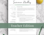 Teacher Resume Template for Word and Pages | 1-3 Page Educator Resume | Creative Teacher CV, Elementary Resume, Teaching Resume