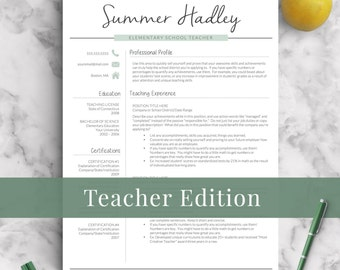 Teacher Resume Template For Word And Pages | 1 3 Page Educator Resume |  Creative  Teachers Resume Template