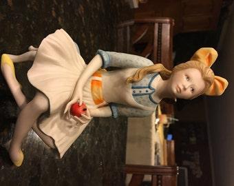 Vintage 1971 Cybis Pollyanna Girl Holding Apple Porcelain Sculpture Retired