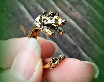 Dachshund Ring - Gold Tone - Adjustable Puppy Ring - Animal Ring
