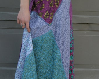 Purple and Blue Cotton Patchwork Wrap Skirt