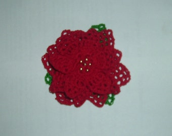 Festive Crocheted Poinsettia Brooch
