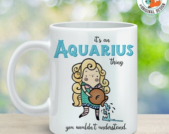 Coffee Mug Aquarius Astrological Sign Coffee Cup - Great Birthday Gift - Horoscope Mug