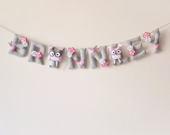 Felt name banner, pink owl nursery decor, personalized gift baby felt letters, child room, baby name garland, custom felt name MADE TO ORDER