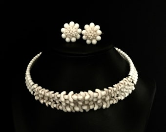 40's Milk Glass Choker and Cluster Earrings   VG2307