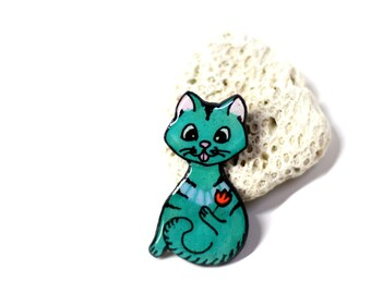 Cat brooch Kitty lover pin Resin gifts Cat lover gift for her Cat lover necklace Cat and tulip brooch Animal pin Creature jewelry for women