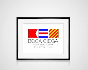 "CUSTOM PERSONALIZED Yacht Club Nautical Flag Art Print  Is 8"" x 10"" Or 11"" x 14"" Ocean Beach Cabin Boat Sailing Coastal Decor Home"