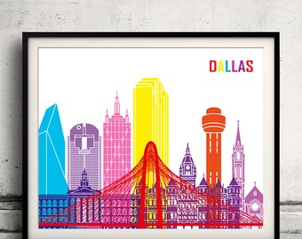 Dallas pop art skyline - Fine Art Print Glicee Poster Gift Illustration Pop Art Colorful Landmarks - SKU 1983