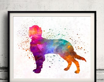 Picardy Spaniel 01 in watercolor - Fine Art Print Poster Decor Home Watercolor Illustration Dog - SKU 2147