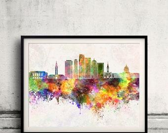 Oklahoma City skyline in watercolor background - Poster Digital Wall art Illustration Print Art Decorative - SKU 2198