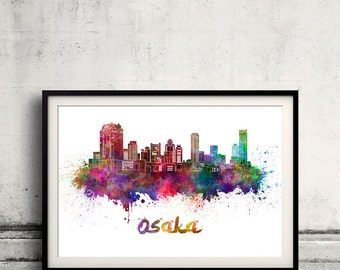 Osaka skyline in watercolor over white background with name of city - Poster Wall art Illustration Print - SKU 1541
