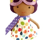 Black superhero girl doll, a rag doll toy for mixed race kids, african american doll for toddlers with cape and mask, gift for kwanzaa