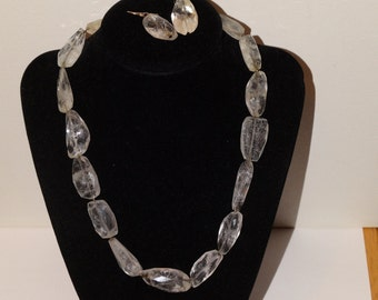 Victorian Sterling Silver And Faceted Raw Quartz Crystal Necklace/Earrigs Set.