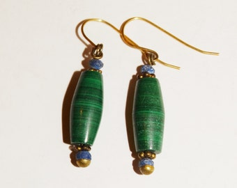 Vintage Genuine Lapis lazuli & Malachite Stone Earrings.