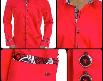 Bright Red with Black French Cuffs Designer Dress Shirt - Made in USA