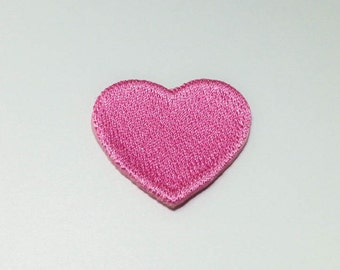 Pink Heart Iron on Patch - Pink Heart Applique Embroidered Iron on Patch Size 3.3x3.0 cm