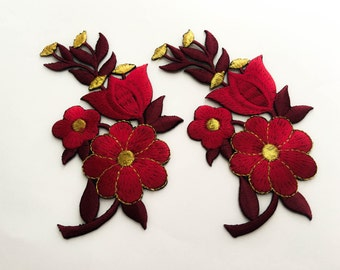 2 pcs Drak Red, Gold  Flower Patch/Embroidered Flower Patch /Embroidered Iron on Patch / Flower Applique Size 6.7x11.6cm