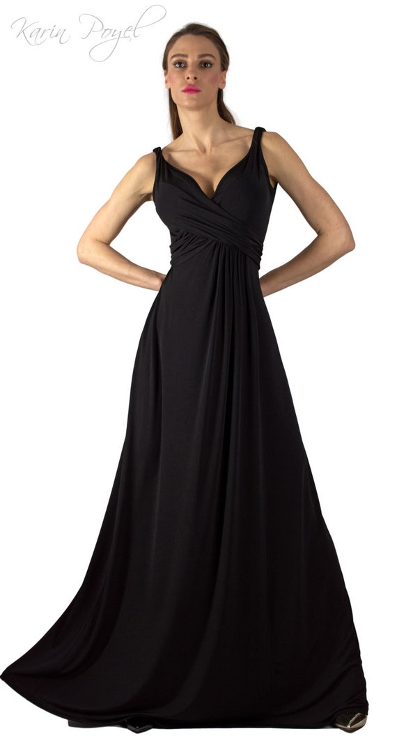 Black Bridesmaid Evening Dress / Sheath Stretch Dress / Black Dress / Wedding Sleeveless Dress / KARIN # 12-035-01-01-00