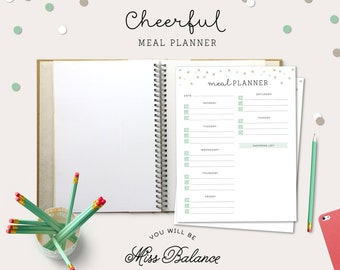 Meal Planner Printable, Weekly Menu Plan, Printable Meal Schedule, Shopping list, Desk Planner, A4, Letter 8,5x11 in, INSTANT DOWNLOAD