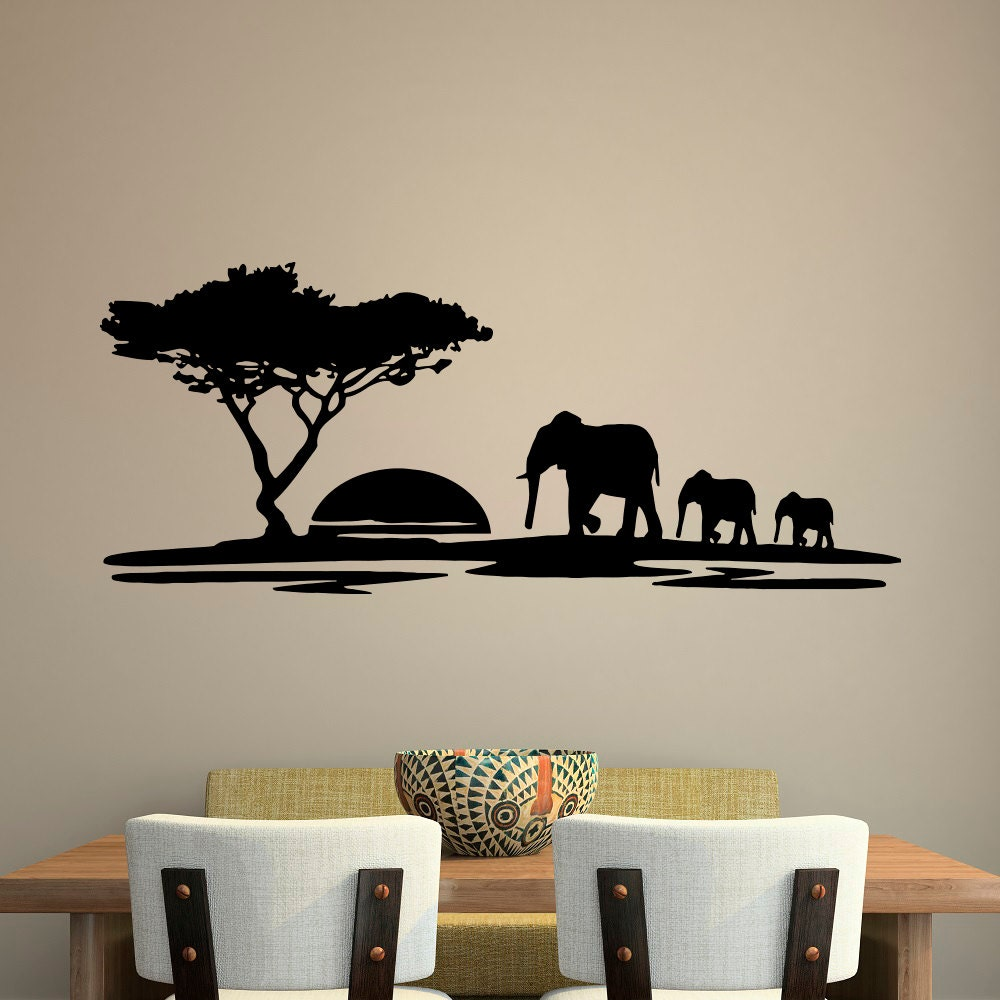 animal wall decal safari elephant decals safari wall decal. Black Bedroom Furniture Sets. Home Design Ideas