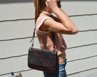 SIMARD Brown Leather Handbag with Adjustable Strap & Many Pockets - Never Used