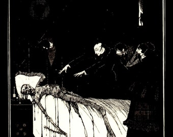 Harry Clarke Print, Illustration Form Tales Of Mystery and Imagination By Edgar Allen Poe, Circa 1919, Professionally Black Matted 8 x 10