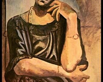 "Picasso, Pablo Picasso Print, Picasso Art Print, Picasso Paintings,""Bildnis Olga Koklowa"", Circa 1918, Vintage Book Page Print"