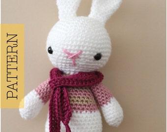 Crochet Amigurumi Bunny PATTERN ONLY, Marley Bunny Rabbit, pdf Amigurumi Stuffed Animal Toy Pattern
