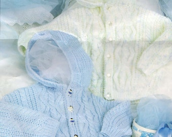 Baby Knitting Pattern - Cable Knit Hooded Cardigan - Double Knitting - 18-24""