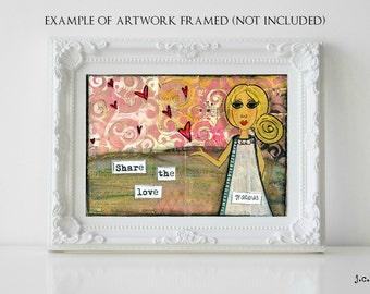 Sale!  5x7 Original painting, small painting, mixed media painting, mixed media art, whimsical girl art, inspirational art, Gracious Girl