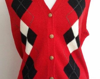Argyle vest, L, red vest, red black vest, 80's vest, knit vest, button front vest, holiday vest, preppy vest, sporty vest