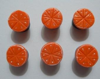 Set of 6: Handmade Orange Fruit Magnets Made of Polymer Clay