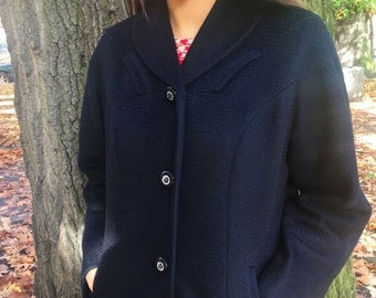 Vintage, 50s, 60s, Black Wool Coat W/Rhinestone Buttons // Winter, Outerwear, 1950s, 1960s, Women, Size Small, Medium