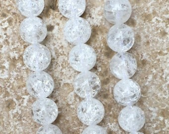 "Cracked Crystal Beads - 10mm round Cracked Crystal Quartz Beads, Natural Gemstone Beads - FULL 16"" strand (about 42 beads) - G840"