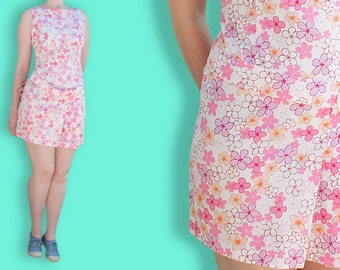90s does 60s Babydoll Dress - Pink Floral Go Go Dancer Dress - Scooter Spice Girls Dress - Belted & Pleated Mini Flower Print Clueless Dress