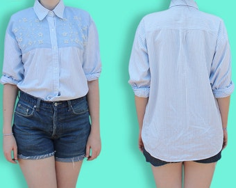 90s Chambray Shirt - Romantic Country Yoked Shirt - White & Light Blue Striped Jean Shirt - Embroidered and Beaded Blouse