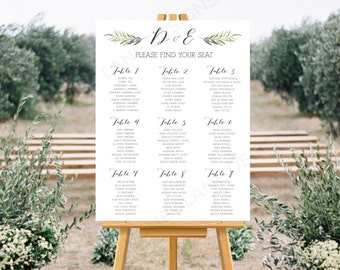 Personalised Printable, Wedding Seating Chart, Wedding Table Plan, Green Branch Collection - WCB81