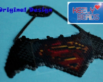 Batman vs Superman mini hama bead Necklace