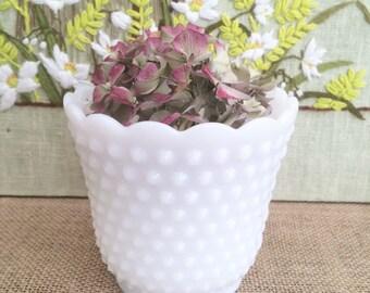 Milk Glass Hobnail Planter Vase Milk Glass Wedding