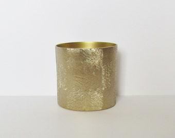 Brushed Metal Vase - Gold - Metal Vase - Cylinder